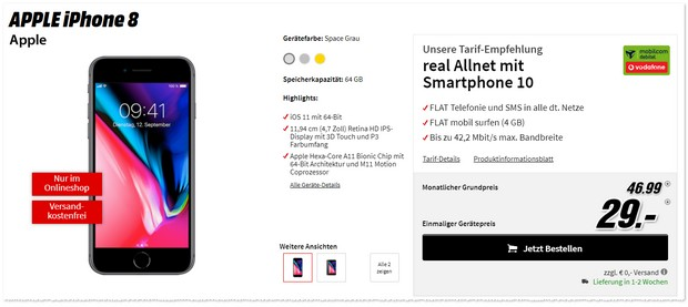 Vodafone Real Allnet + iPhone 8 als MediaMarkt Angebot