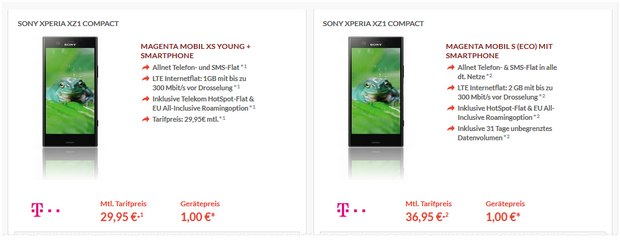 Sony Xperia XZ1 compact + Magenta Mobil XS Young für 1 € Zuzahlung