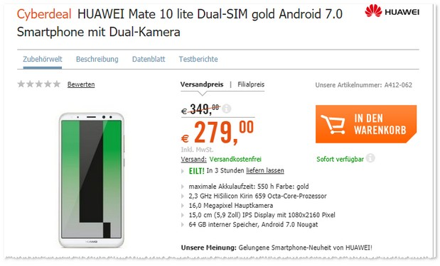 Huawei Mate 10 Lite in Gold als Cyberdeal-Angebot