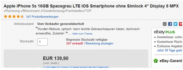 iPhone 5S Angebot (B-Ware, Retoure)