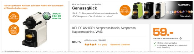 Nespresso Kapselmaschine als Saturn Black Week Deal