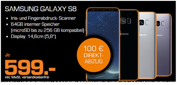 Samsung Galaxy S8 in der Saturn Black Week für 499 €