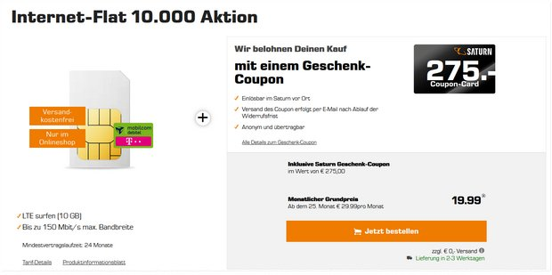 Telekom Internet-Flat 10000 mit 275 € Coupon
