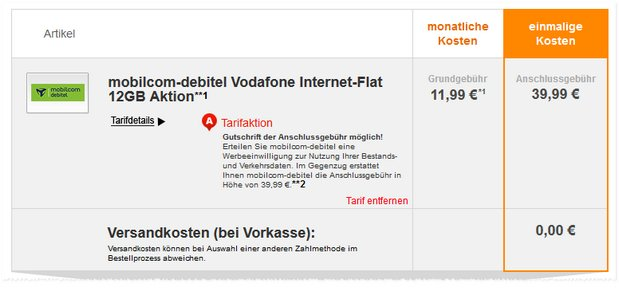 Vodafone Internet-Flat 12000 (md) Aktion für 11,99 € via Handyflash