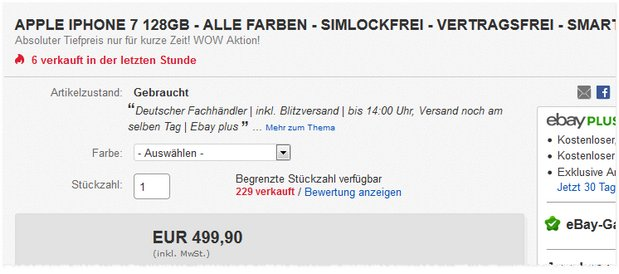 iPhone 7 (128GB) unter 500 €
