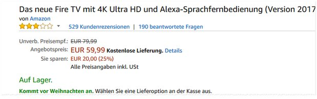 Neues Fire TV 4K HD für 59,99 € als Amazon-Deal
