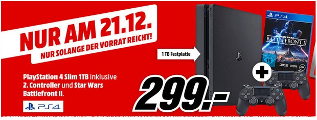 PS4 Slim 1 TB + 2. Controller + Star Wars Battlefront II für 299 €