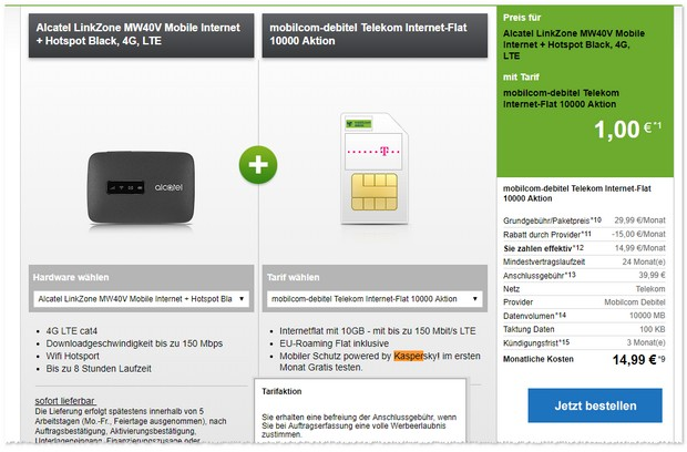 Telekom Internet-Flat 10000 (md) mit Mobile Router von Alcatel