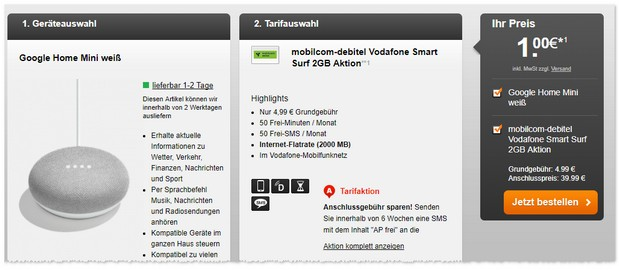 Vodafone Smart Surf Tarif mit Google Home Mini