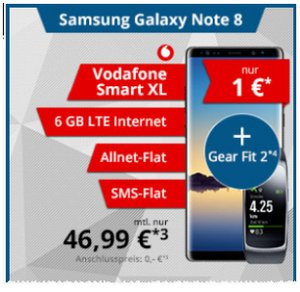 Vodafone Smart XL + Galaxy Note 8: Deal für 1 €