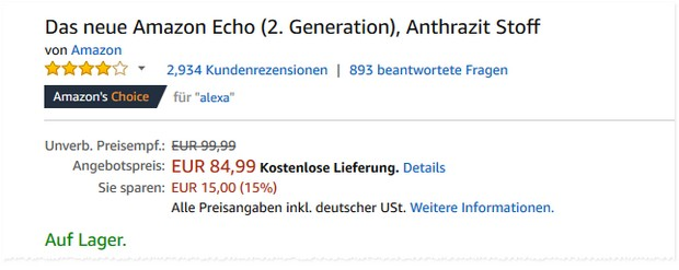 Amazon Echo Osterangebot für 84,99 €