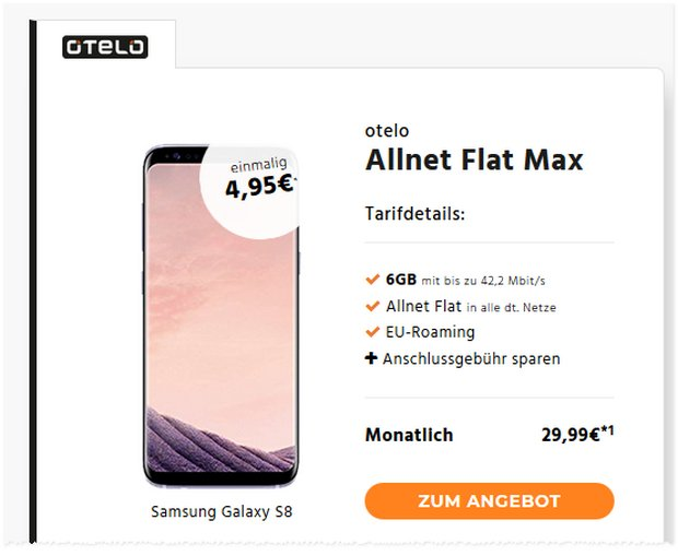 otelo allnet flat max galaxy s8 bester deal ab 1 8. Black Bedroom Furniture Sets. Home Design Ideas