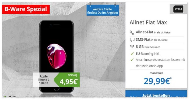 otelo Allnet Flat Max (8 GB) + iPhone 7 mit 128 GB