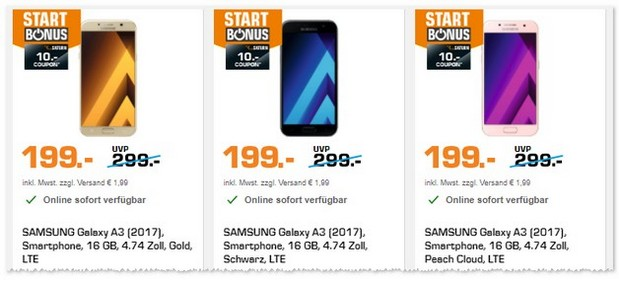 Samsung Galaxy A3 (2017) via Saturn mit 10 € Coupon