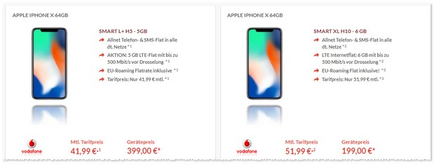 Vodafone Smart L Plus mit iPhone X günstig im Angebot