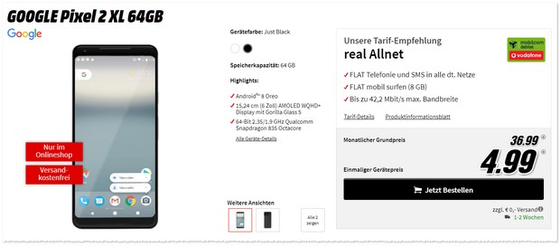 Google Pixel 2 XL + Vodafone Real Allnet (8 GB)