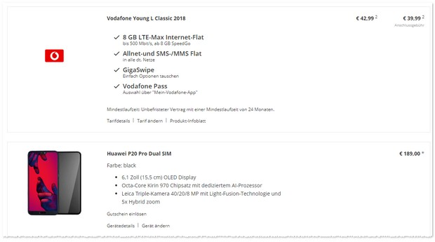 Huawei P20 Pro mit Vodafone Young L im Angebot