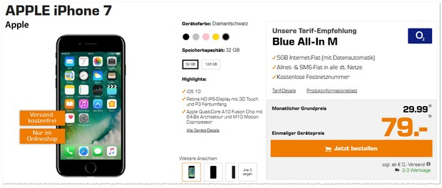 o2 Blue All-in M + iPhone 7 (32GB) wieder günstiger