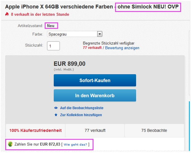 iphone x ohne vertrag g nstiger preis 720 neuware. Black Bedroom Furniture Sets. Home Design Ideas