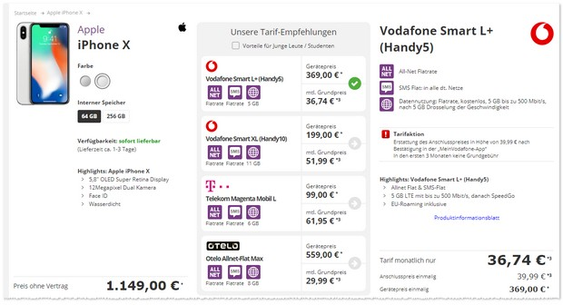 iPhone X (64 GB) und Vodafone Smart L Plus mit 3 Freimonaten