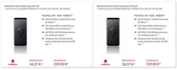 Samsung Galaxy S9 Plus und Vodafone Young L