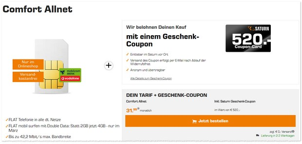 Vodafone Comfort Allnet (md) mit 520 € Saturn Coupon