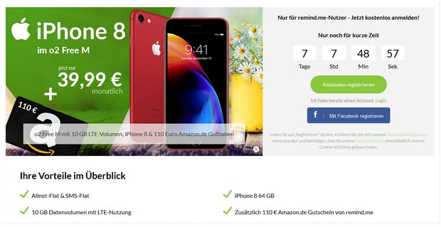 iPhone 8 Product RED + o2 Free M + 110 € Amazon-Gutschein