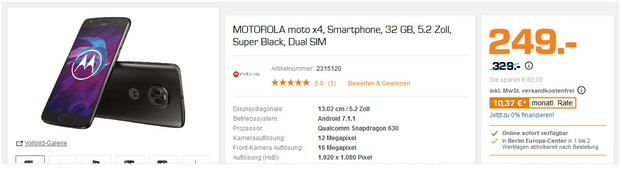 Moto X4 im Saturn Night Deal für 249 €