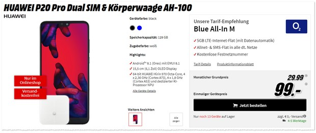 o22 Blue All-in M + Huawei P20 Pro + Waage
