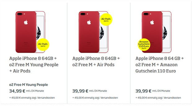 Rotes iPhone 8 + o2 Free M für 39,99 € / Monat + 49 € Zuzahlung