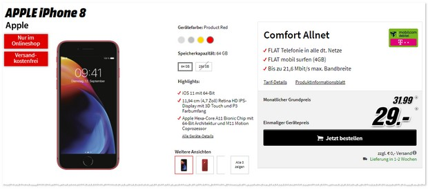 Telekom Comfort Allnet (md) mit iPhone 8 in der Red Edition