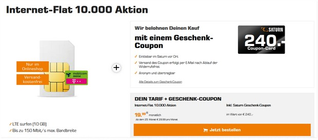 Telekom Internet-Flat 10000 mit 240 € Saturn Coupon on top