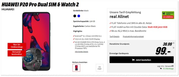 Vodafone Real Allnet (md) + Huawei P20 Pro+ Watch 2