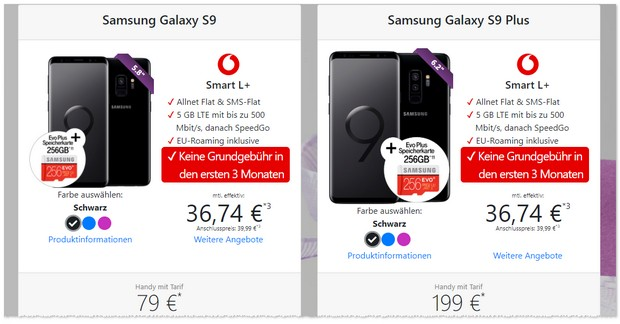 Samsung Galaxy S9+ und Vodafone Smart L Plus.: 3 Freimonate