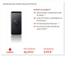 Vodafone Smart XL + Samsung Galaxy S9 Plus als neuer Deal