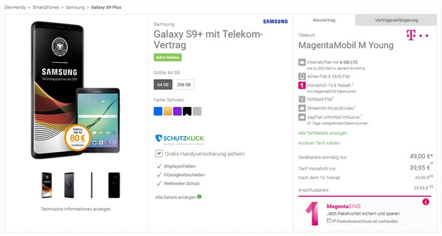 Galaxy S9 Plus + Telekom Magenta Mobil M Young + Tablet für 49 € Zuzahlung