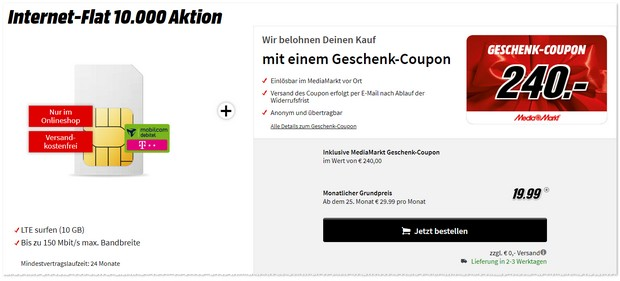 Internet Flat 10000 Aktion mit Media Markt Gutschein