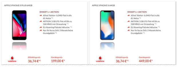 Apple iPhone 8 Plus und Vodafone Smart L Plus mit 3 Freimonaten