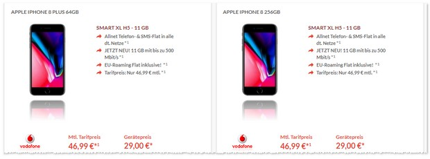 Vodafone Smart XL (11GB LTE) + iPhone 8 Plus für mtl. 46,99 €