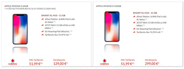 Vodafone Smart XL + iPhone X (64GB) + Zugabe