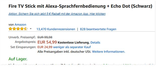 Amazon Fire-TV-Stick mit Echo Dot für 54,99 €