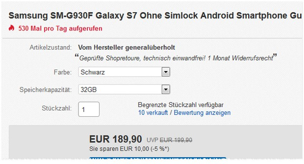 samsung galaxy s7 preis ohne vertrag 161 91. Black Bedroom Furniture Sets. Home Design Ideas