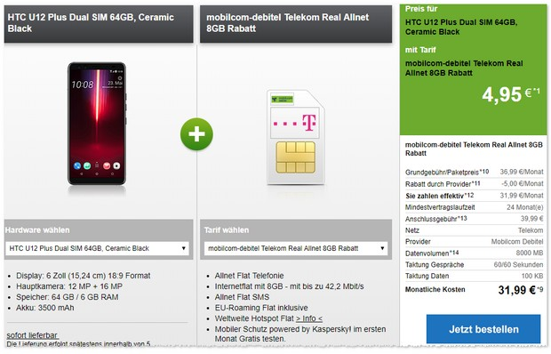 HTC U12 Plus + Telekom Real Allnet (md)