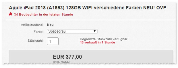 Apple iPad 2018 mit 128 GB