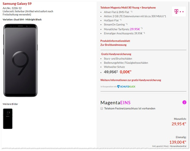 Samsung Galaxy S9 + Magenta Mobil XS Young Preisboerse24 Angebot