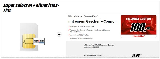 Super Select M Allnet mit 100 Euro Media Markt Gutschein
