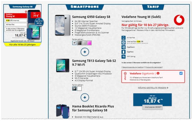 Vodafone Young M + Samsung Galaxy S8 + Galaxy Tab S2 + Booklet als Bundle Deal