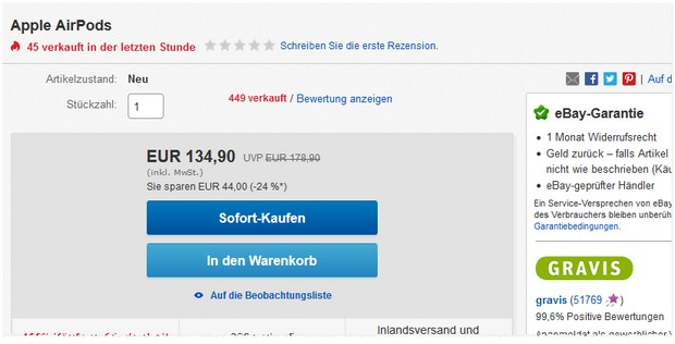Apple AirPods Angebot vom 17.7.2018: 134,90 € via Gravis-Store (eBay)