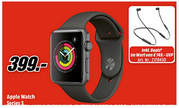 Apple Watch Series 3 mit Beats X bei MediaMarkt für 399 €