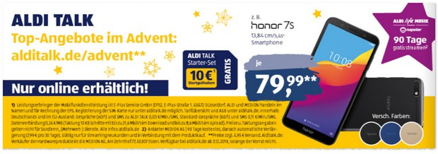 Honor 7S bei ALDI in der Adventsaktion